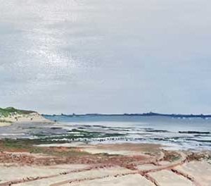 Painting of a sandy shoreline