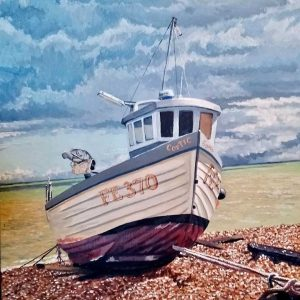 Boat on the shore painting
