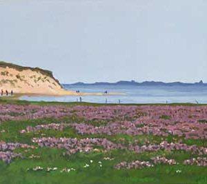 Purple Heather on the shoreline painting