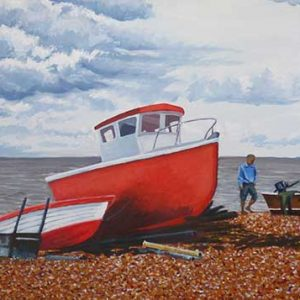 Painting of red fishing boat on beach