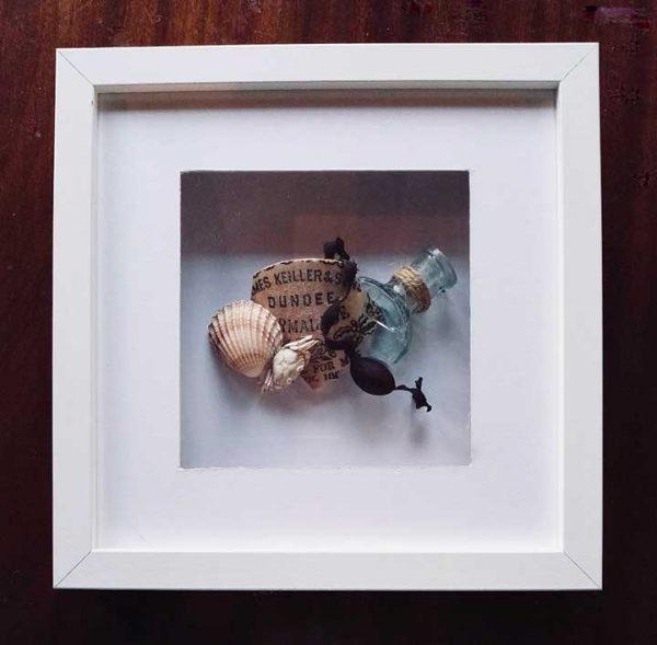 Box frame of beachcombing art