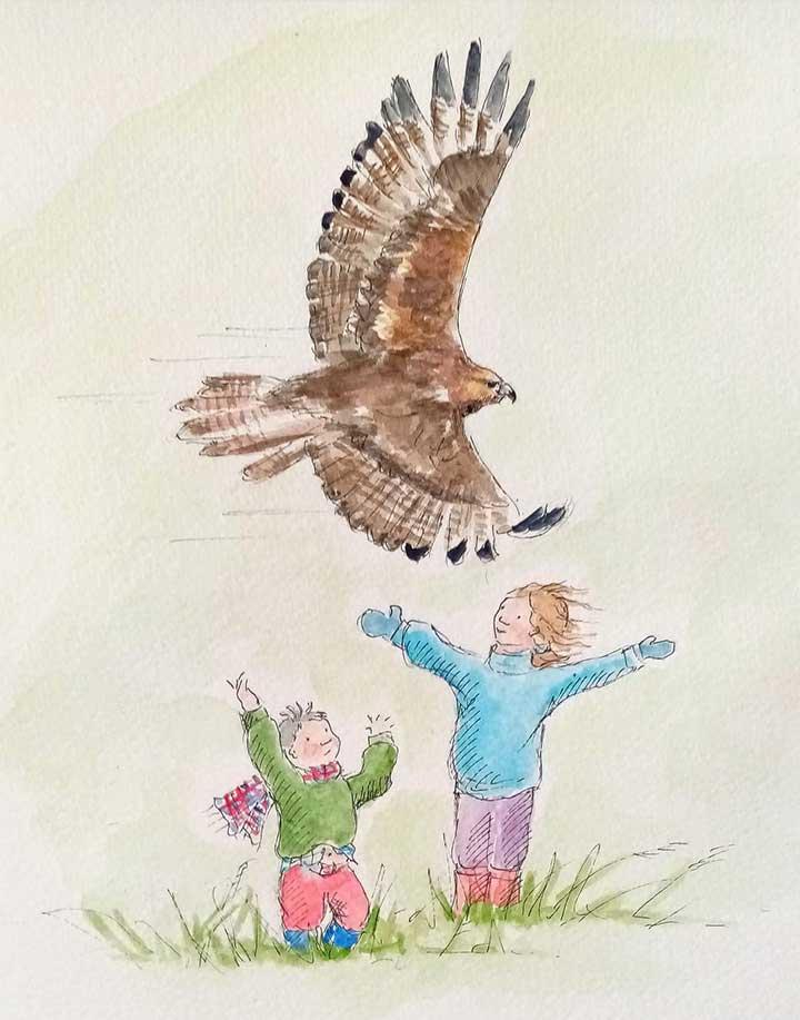 children-bird-above