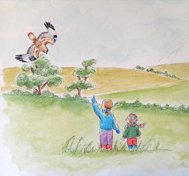 children-pointing-bird-illustration